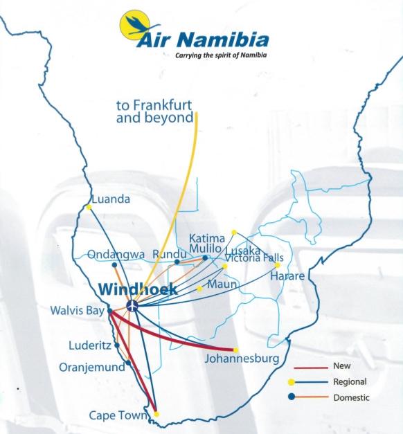Air Namibia - mapa połączeń