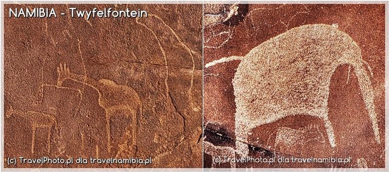 Twyfelfontein - na lewym zdjęciu widać uchatkę, na prawym biały słoń