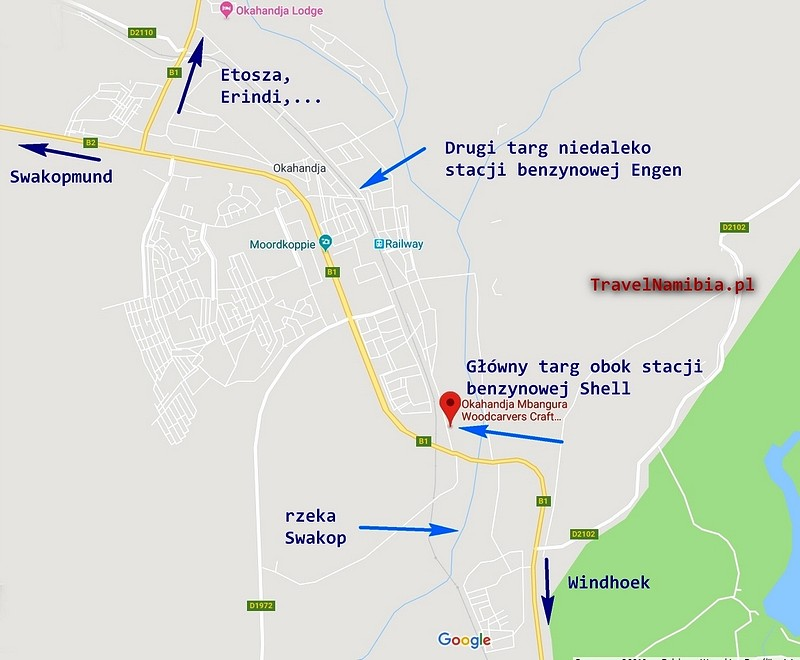 Okahandja - plan (Google Maps)