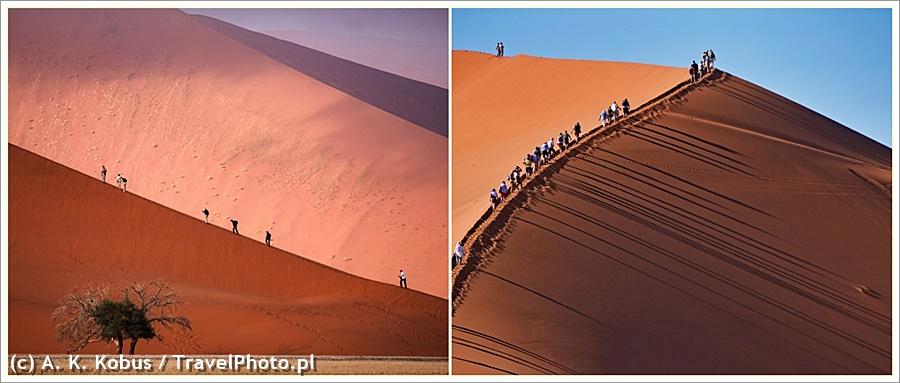 Poranne pielgrzymki: po lewej na Dune 45, po prawej na wydmę nad Dead Vlei. Szanse, by na tym szlaku drzemał wąż są znikome...