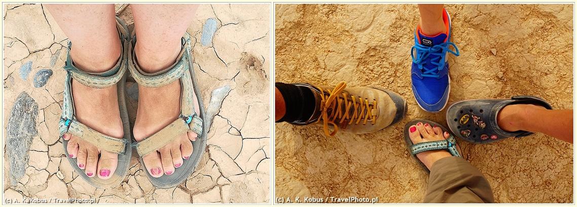 Gotowi do wymarszu! Moje sandały po spacerze dnem Dead Vlei oraz nogi naszej czwórki: jak widać każdy poszedł w swoim ulubionym obuwiu. I każdy był zadowolony!