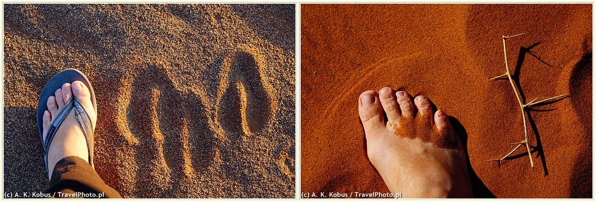 Na oryksach temperatura piasku nie robi wrażenia, na mnie i owszem. A do tego te kolce: czasem trzeba uważać!