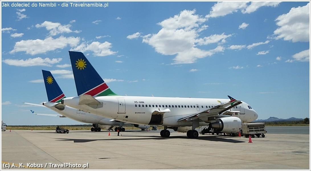 Samoloty Air Namibia na lotnisku w Windhuku.