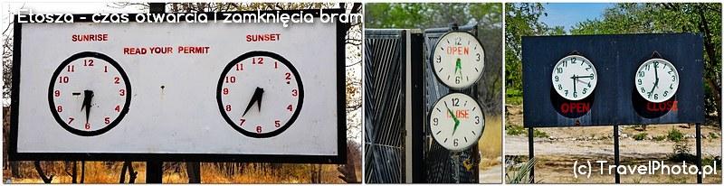Etosza - zegary pokazują godziny otwarcia i zamknięcia bram campingów