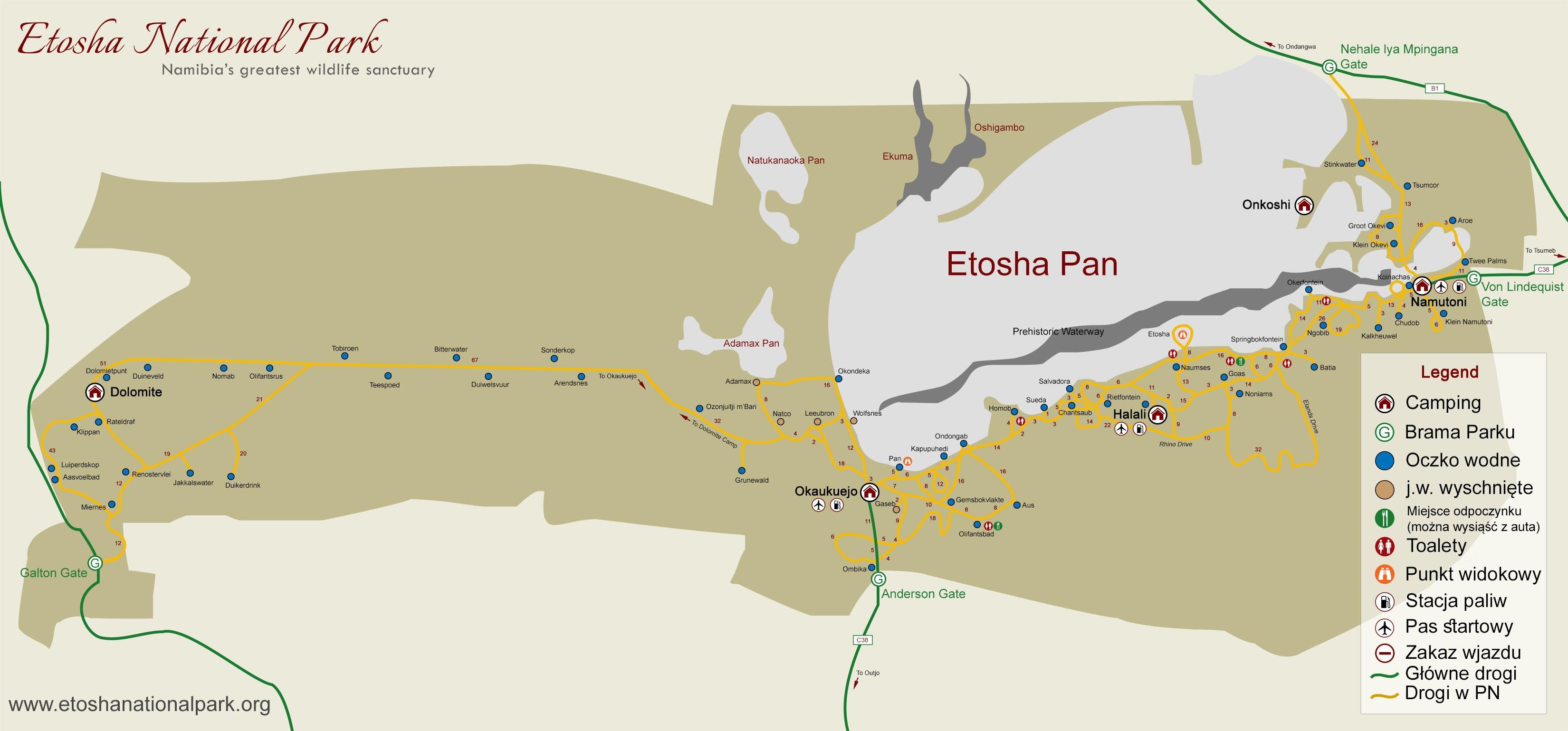 Etosza - mapa parku. Wolno jeździć tylko po drogach!