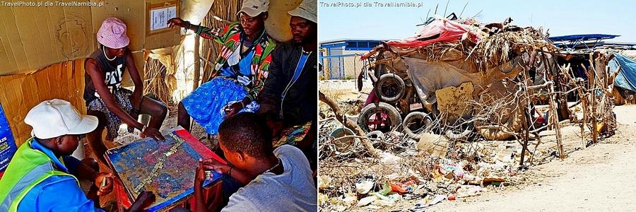 Panowie Himba w barze - targowisko w Opuwo.