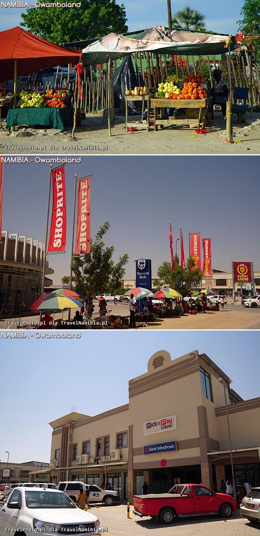 Przy drodze są małe sklepiki i wielkie supermarkety.