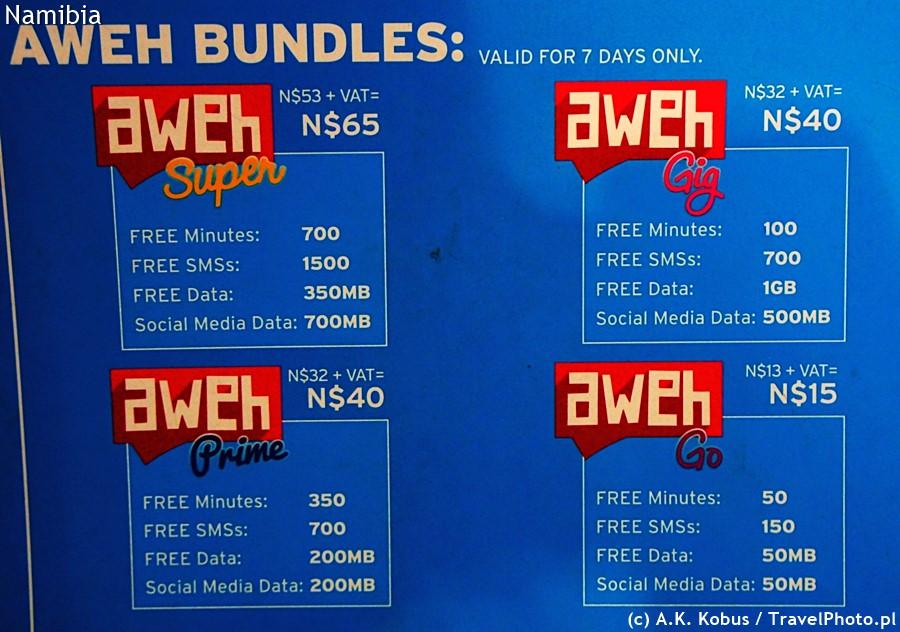 Przykładowe ceny i ilości MB - internet MTC.