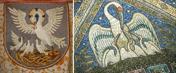 Pelikan - zdobienia w kościołach.