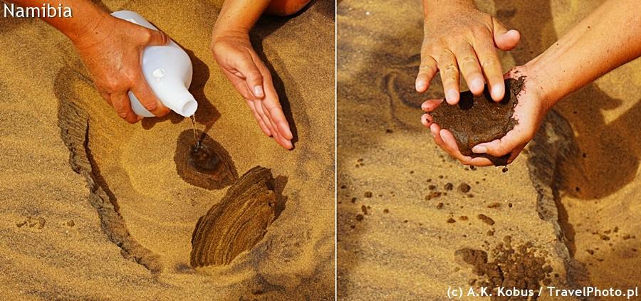 Woda pod piaskiem pokazuje ile było wn im wolnego miejsca na powietrze.
