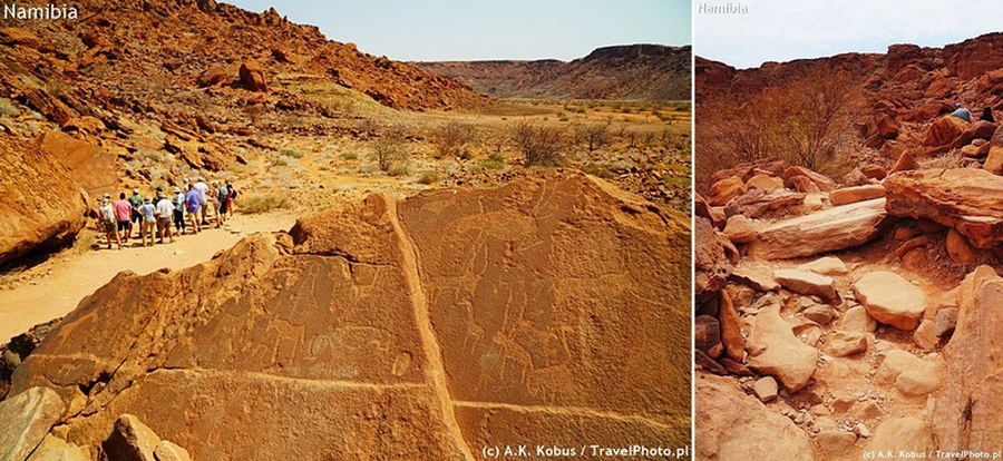 Szlak wiedzie częściowo równą drogą a częściowo przez skały.